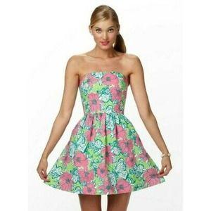 Lilly Pulitzer Green Bloomin Pink Floral Dress